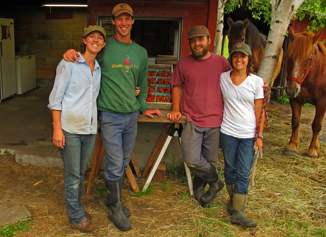 Meet the summer 2011 Full and By Farm crew: Sara Kurak, James Graves, Tyler Sildve and Emily Jaquish (l. to r.)