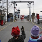 Christmas in Essex Village, Santa disembarks Essex-Charlotte ferry (photo credit Jill Piper)