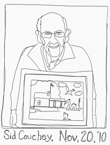 Sid Couchey with Rosslyn boathouse cartoon