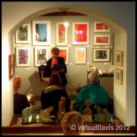 Judith Moore reading a poem at the Adirondack Art Association in Essex, NY on June 12, 2012.