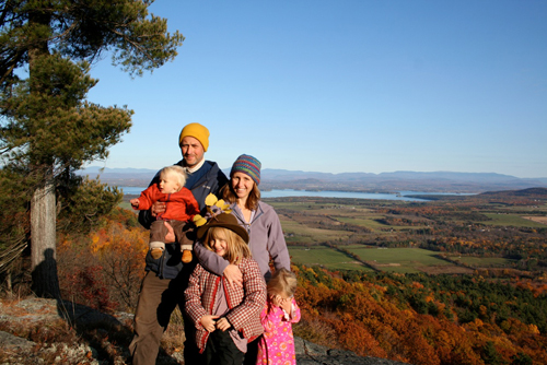 Jen Zahorchak and her family atop South Boquet