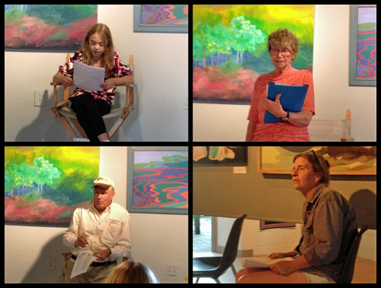 Poetry in Essex, July 10 at the Adirondack Art Association (clockwise from top left: Colleen Torrans, Judith Moore, Donna Joerg, Bill Poppino)