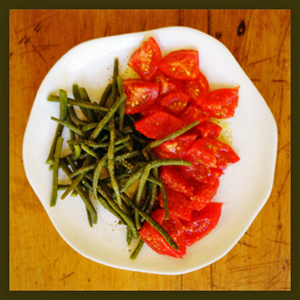 Ful and By green beans and tomatoes