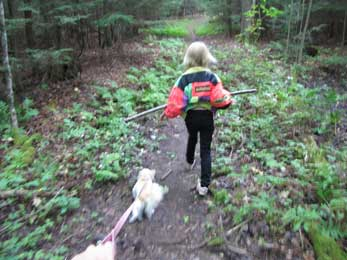 Hiking girl & dog on a CATS trail
