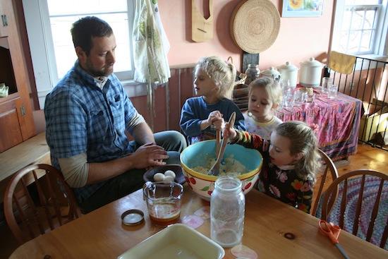 Gregg VanDeusen and the Kindergarten children cooking together.