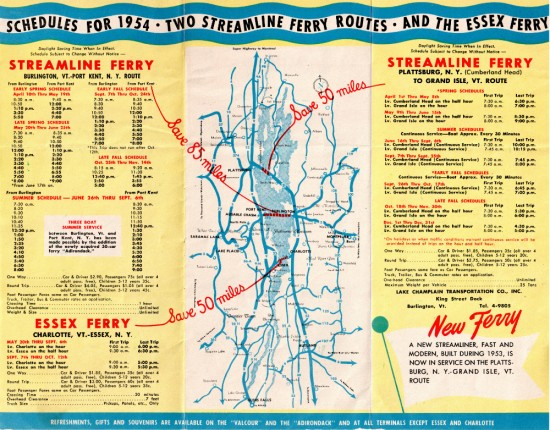Ferry Brochure1954 (Interior) Schedules, prices, and map