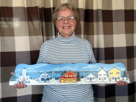 Mary Wade holding Essex winter panorama