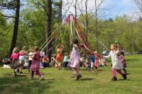 Dancing around the May Pole at Lakeside