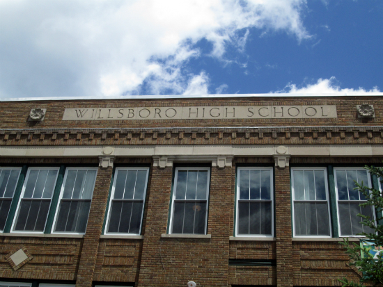 """Willsboro High School"" still inscribed on the front of the building."
