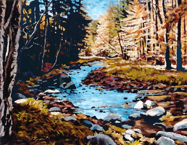 Cold Stream northwest of Piseco (Painting by Bill Amadon)