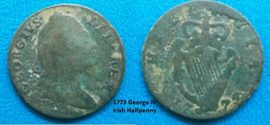 1773 George II Irish Halfpenny