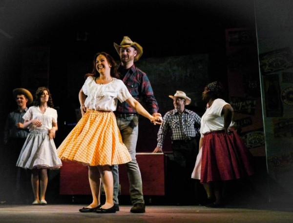 """The last song of Act I in Route 66, """"A Step in the Right Direction,"""" allows Liz and Drew to begin realizing their feelings for each other. (Credit: Depot Theatre)"""