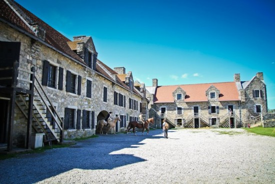 Fort Ticonderoga with horses