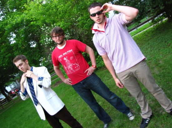 ETC Much Ado Cast: (l to r) Evan Fazziola, Ian Allardice, Dana McLaughlin