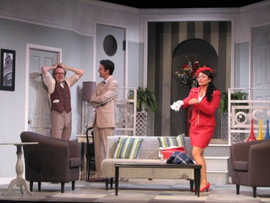 Robert panics as Bernard and Gabriella arrive home and Gretchen is just behind that door. (Credit: Depot Theatre)