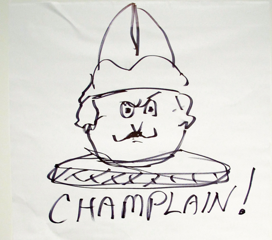 "Steven Kellogg's sketch of the nefarious Samuel de Champlain from his ""Ode to Essex."""
