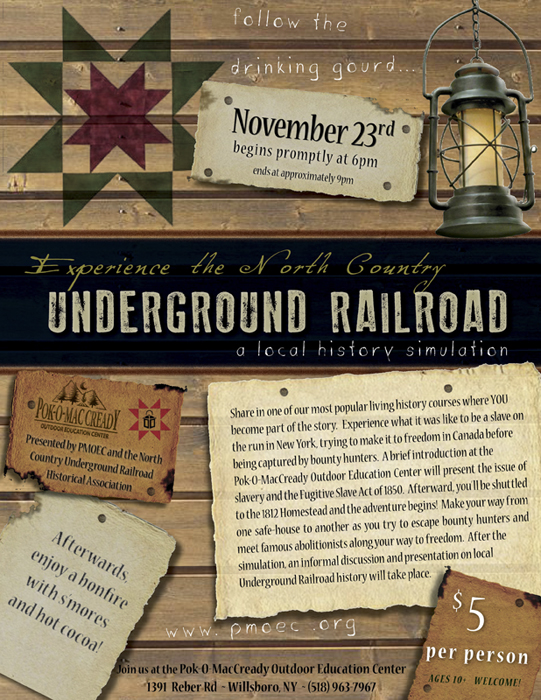 Join Pok-o's Underground Railroad Experience on November 23, 2013. 6-9pm.