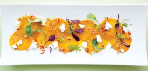 Thinly sliced locally grown beets at Room 12 (Photo: Lanai Monahan)