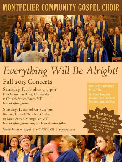 Montpelier Community Gospel Choir Concerts Dec. 7 & 8