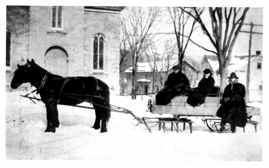 Sleigh in front of Essex Community Church
