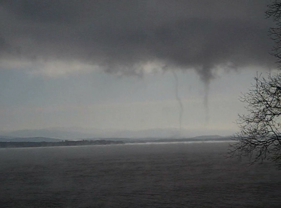Twin waterspouts on Lake Champlain (Credit: NOAA via Andy MacDougal's video)