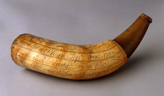 Peter Hart powder horn, copyright Fort Ticonderoga Museum
