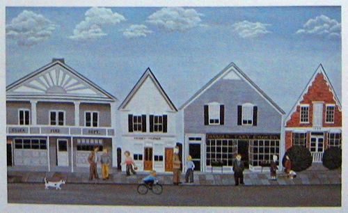 1973 Essex, New York painting/postcard by S. Alberts
