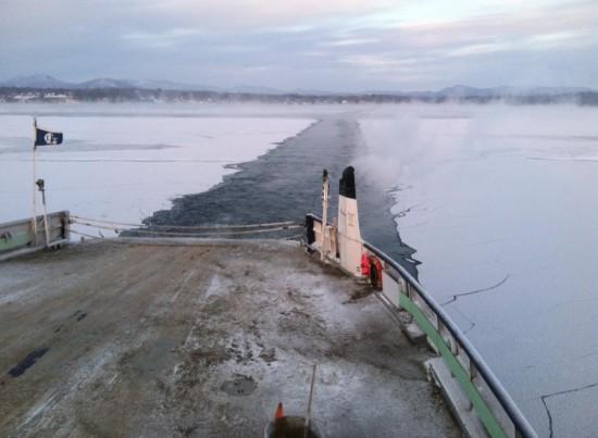 Ferry Breaking Frozen Lake Champlain (Photo: Ken Hughes)