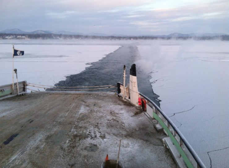 Ferry Breaking Frozen Lake Champlain (Photo: Ken Hughes)
