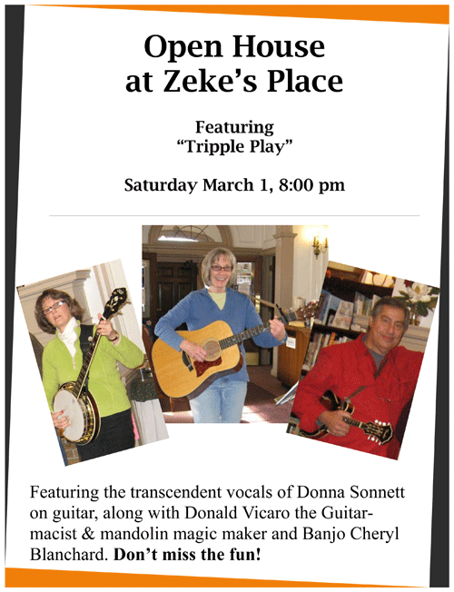 Tripple Play to perform in Willsboro during Zeke's Place Open House