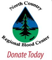 Donate blood with the North Country Regional Blood Center. (Logo)