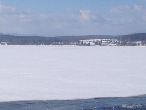 Lake is frozen except ferry channel. (Credit: Scottie Ginn)
