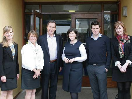 CFES President & CEO Rick Dalton and CFES Executive Vice President for Development Karen Judge along with Trinity College Dublin staff Grace Edge and Kathleen O'Toole are welcomed to St. Joseph's Secondary School in Dublin, Ireland by principal Patricia Hayden and teacher Daragh Nealon. (Credit: Fingal Independent)