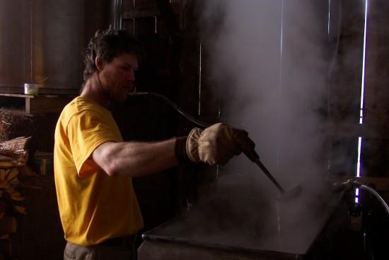 James boiling sap to make maple syrup at Full and By Farm. (Credit: Sara Kurak)