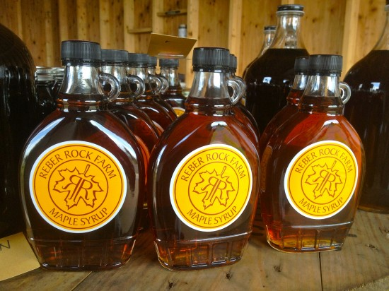 Bottles of Reber Rock Farm syrup ready to go. (Credit: Racey Bingham)