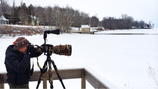 John DiGiacomo Photographing Waterfowl in Essex, NY (Photo: virtualDavis)