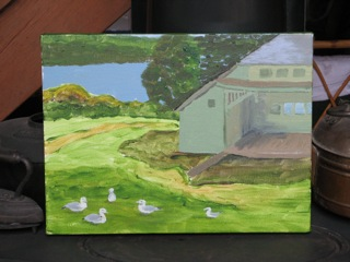 Seagulls in Ballard Park, a plein air painting by Dee Carroll.