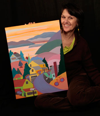 Linda Symth, plein air workshop leader, displays her work. (Photo from Linda's website.)