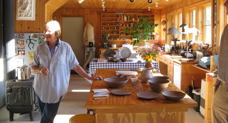 Potter Meredith Johnston welcomes visitors to her studio. (Photo by Dee Carroll)