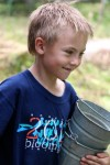 Lakeside School student with pails