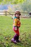 Lakeside School: Girl on fall lawn