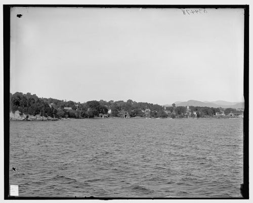 Vintage photo of Essex, New York's waterfront from Lake Champlain. (circa-1900-1910)