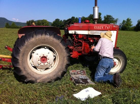 Working on an Essex Farm tractor (Credit: Kristin Kimball)