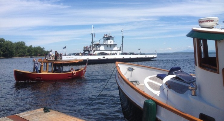 ferry and tugboats in Essex, NY