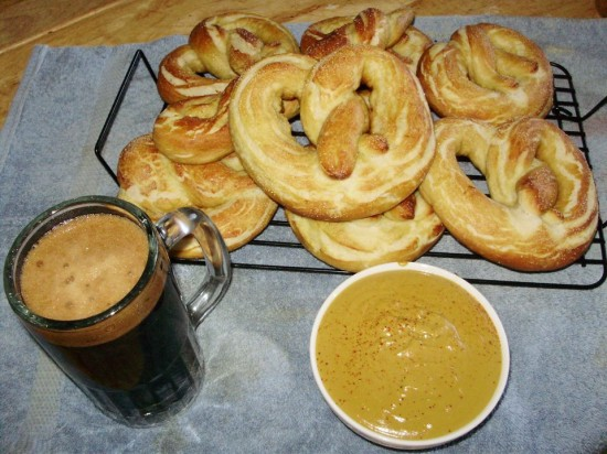 Homemade soft pretzels with Brown Ale mustard and a pint of Stout. (Credit: Ausable Brewing Company)