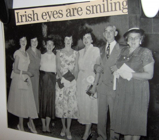 5 Irish girls with Dad & Mummy at Barbara's high school graduation 1954