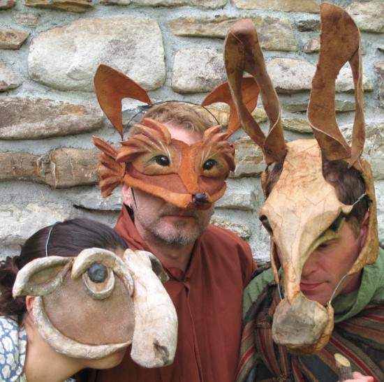 Actors in animal masks ready to perform in THE DANCING FOX. (Credit: Mettawee Theatre Company)