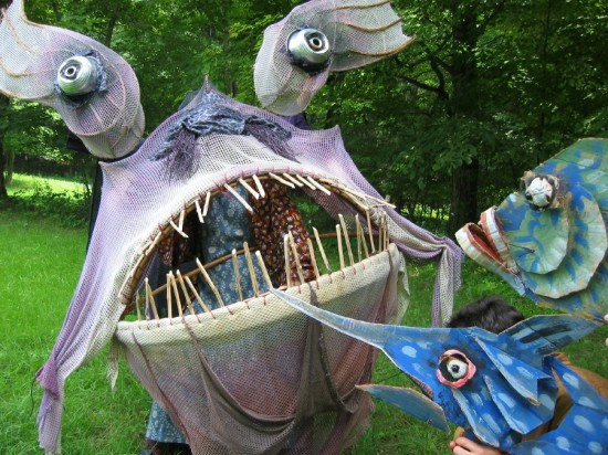 Fish puppets in THE DANCING FOX. (Credit: Mettawee Theatre Company)