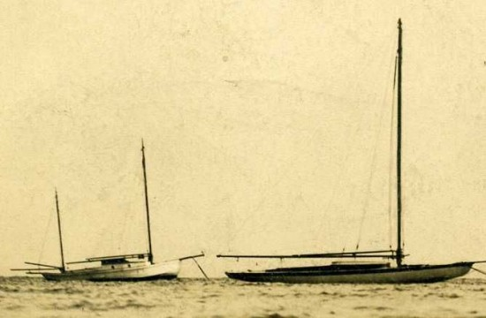 """Close up of boats in postcard. """"Essex on Lake Champlain. Gem of the Lake, NY"""" [Cowan. Photo]"""