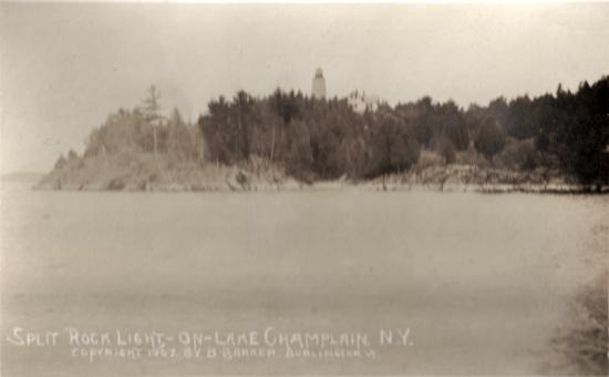 Split Rock Light-On-Lake-Champlain, N.Y. Copyright: 1907 By B. Barker Burlington, VT.